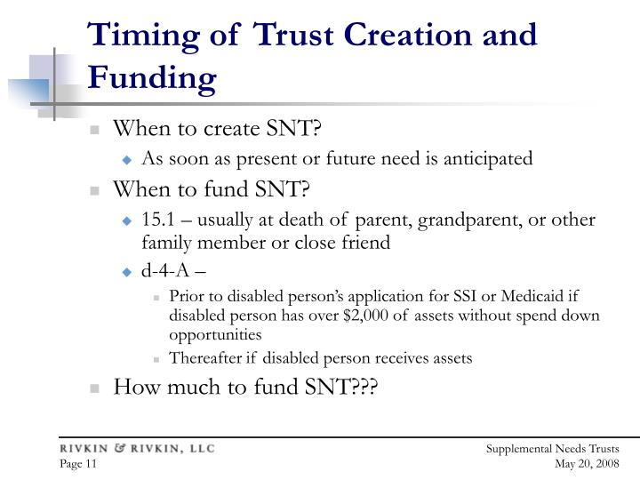 Timing of Trust Creation and Funding