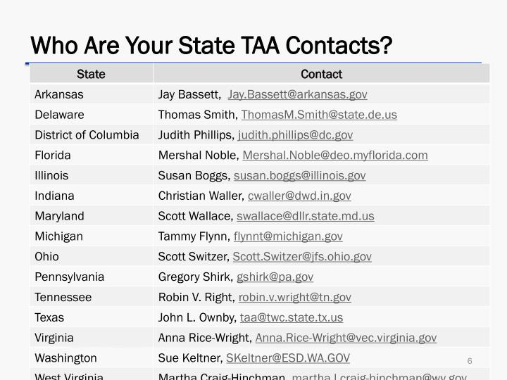 Who Are Your State TAA Contacts?