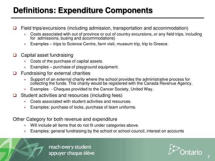 Definitions: Expenditure