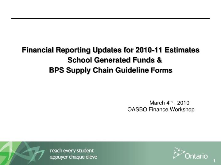 Financial Reporting Updates for 2010-11 Estimates