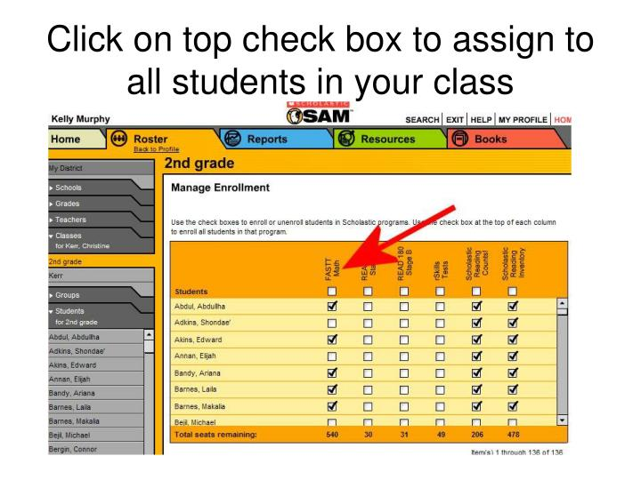 Click on top check box to assign to all students in your class