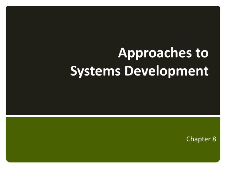 approaches to systems development n.