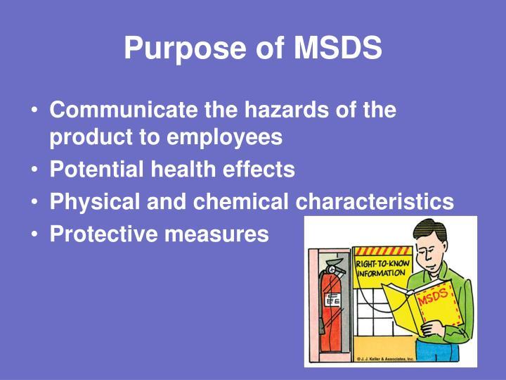 Purpose of MSDS
