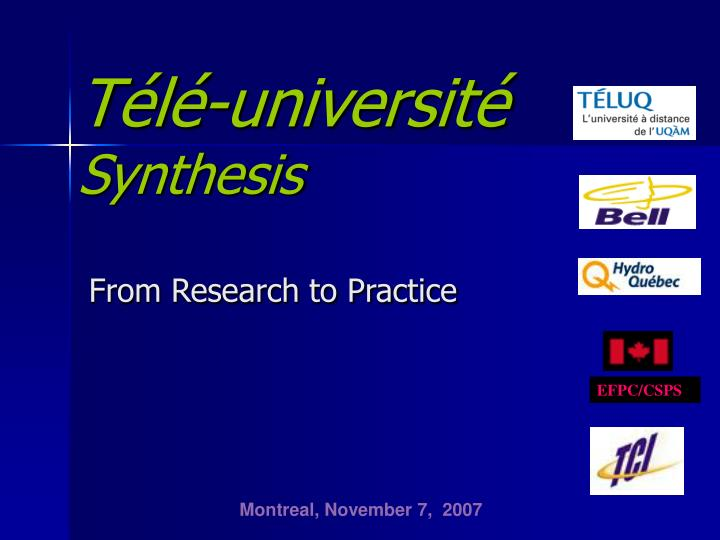 t l universit synthesis from research to practice