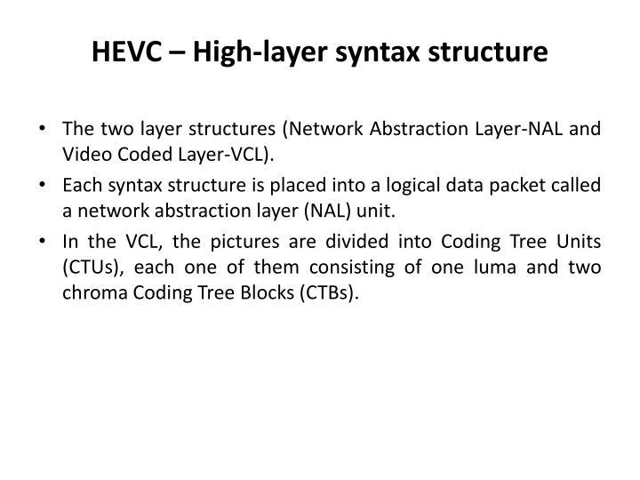 HEVC – High-layer syntax