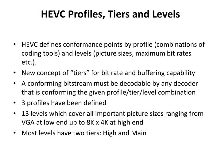 HEVC Profiles, Tiers and