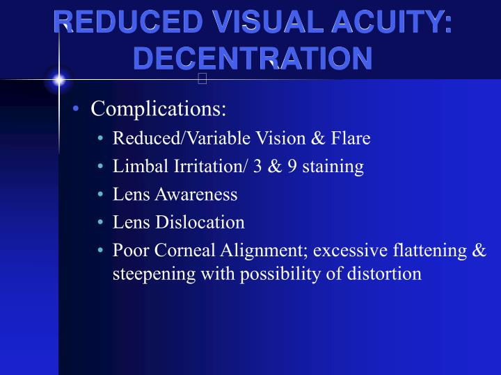 REDUCED VISUAL ACUITY: DECENTRATION