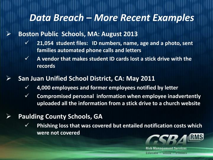 Data Breach – More Recent Examples