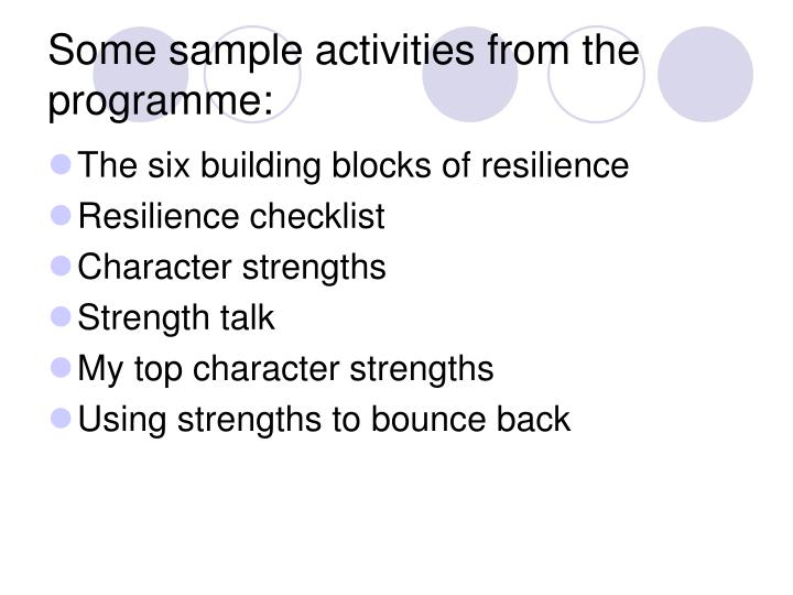 Some sample activities from the programme: