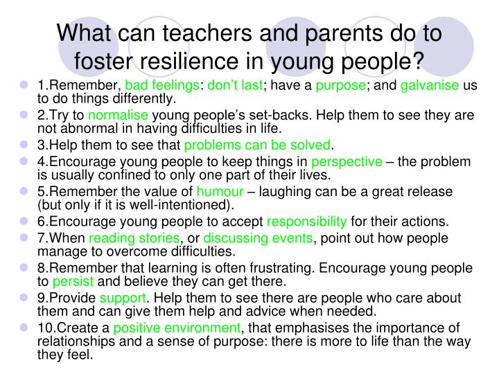 What can teachers and parents do to foster resilience in young people?