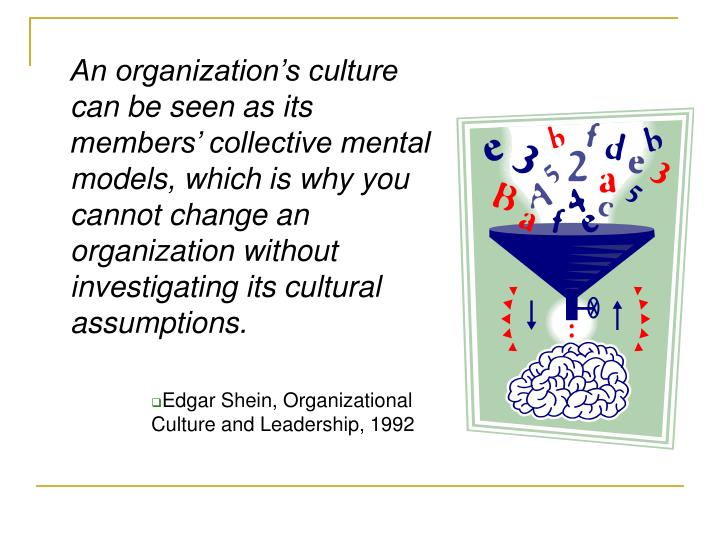 An organization's culture can be seen as its members' collective mental models, which is why you cannot change an organization without investigating its cultural assumptions.