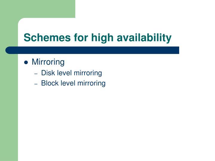 Schemes for high availability