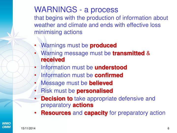 WARNINGS - a process