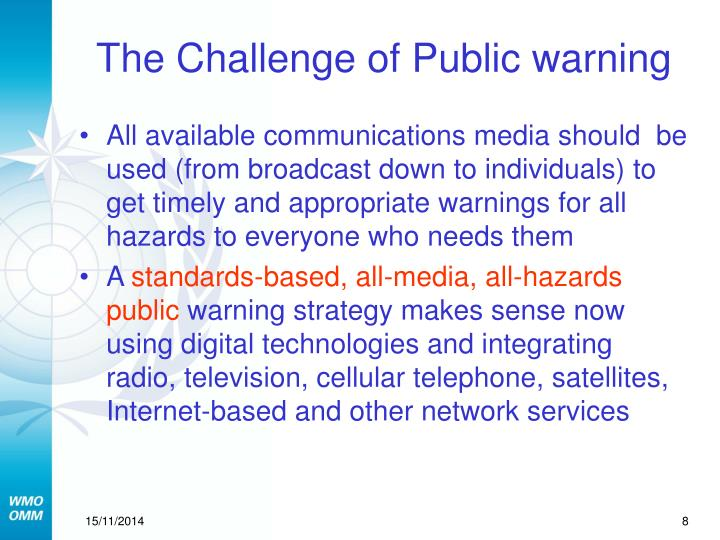 The Challenge of Public warning