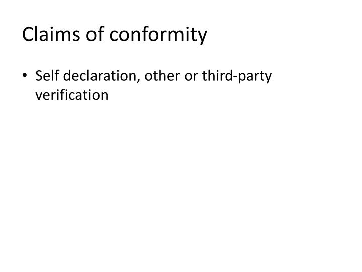 Claims of conformity