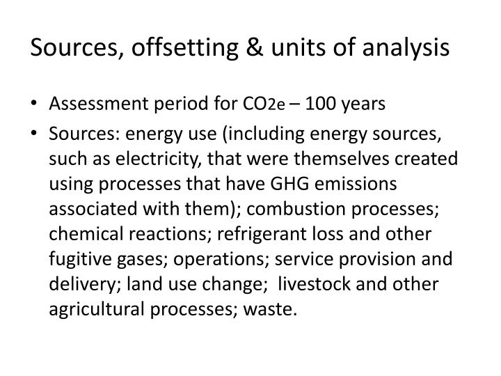 Sources, offsetting & units of analysis