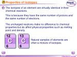properties of isotopes