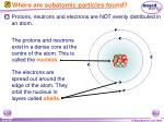 where are subatomic particles found