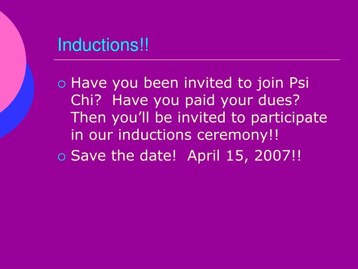 Inductions!!