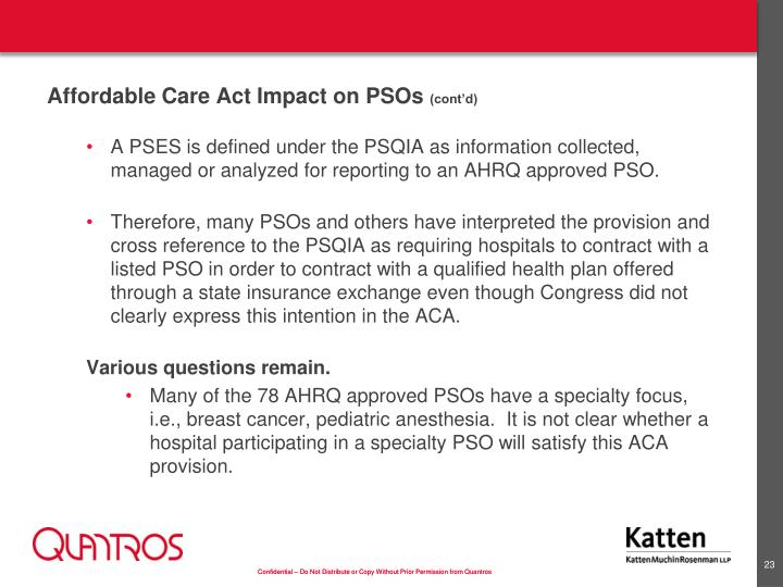 Affordable Care Act Impact on PSOs