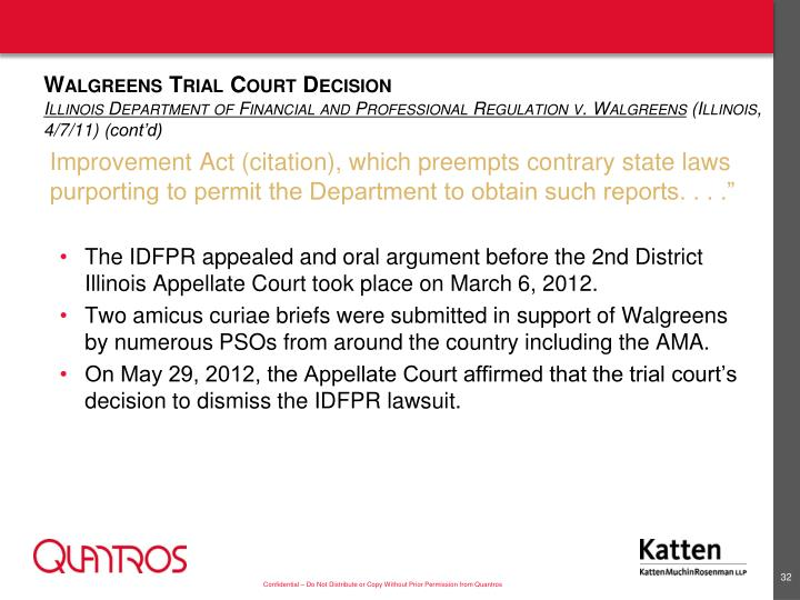 Walgreens Trial Court Decision