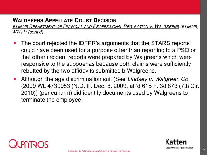 Walgreens Appellate Court Decision