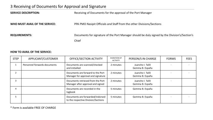 3 Receiving of Documents for Approval and Signature