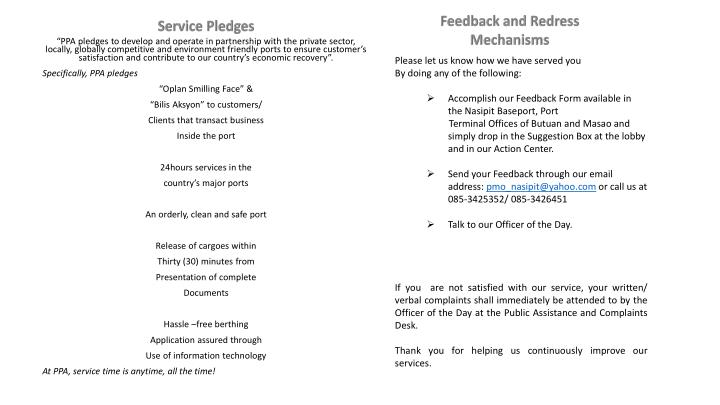 Feedback and Redress