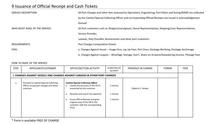 9 Issuance of Official Receipt and Cash Tickets