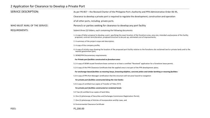2 Application for Clearance to Develop a Private Port