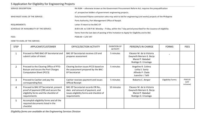 5 Application for Eligibility for Engineering Projects