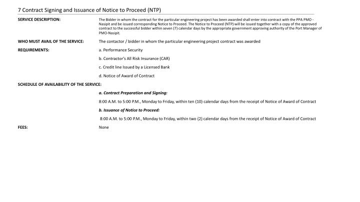 7 Contract Signing and Issuance of Notice to Proceed (NTP)