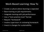 work based learning how to