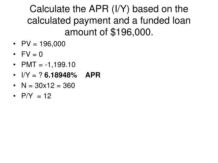 Calculate the APR (I/Y) based on the calculated payment and a funded loan amount of $196,000.