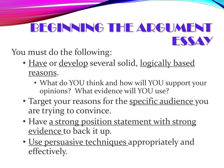 Beginning the Argument Essay