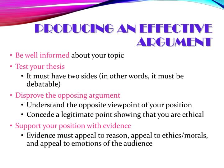 Producing an Effective Argument