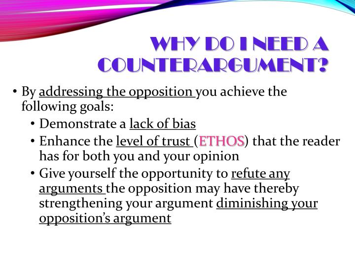 Why do I need a counterargument?