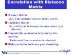 correlation with distance matrix