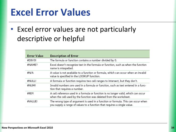 Excel Error Values