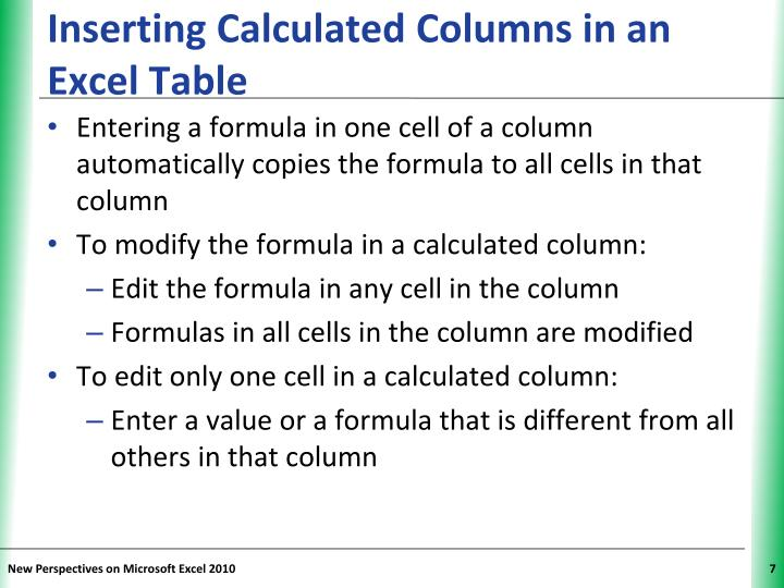 Inserting Calculated Columns in an Excel Table