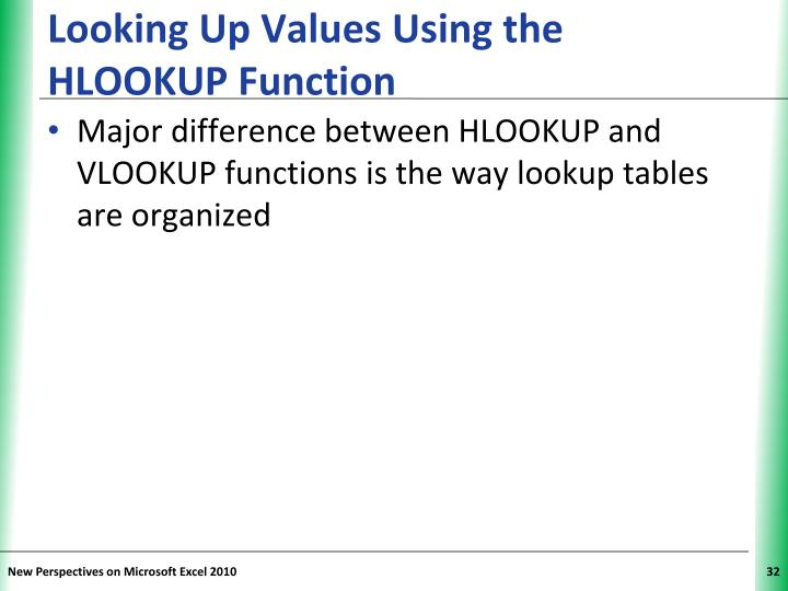 Looking Up Values Using the HLOOKUP Function