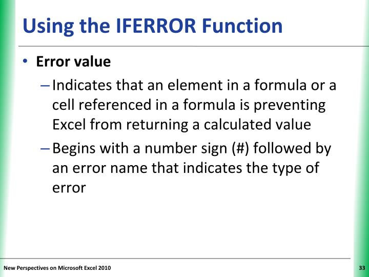 Using the IFERROR Function