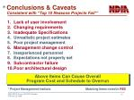 conclusions caveats consistent with top 10 reasons projects fail