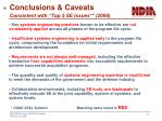 conclusions caveats consistent with top 5 se issues 2006