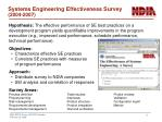 systems engineering effectiveness survey 2004 2007