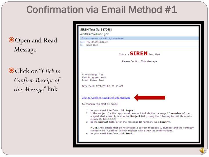 Confirmation via Email Method #1