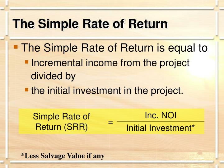 The Simple Rate of Return