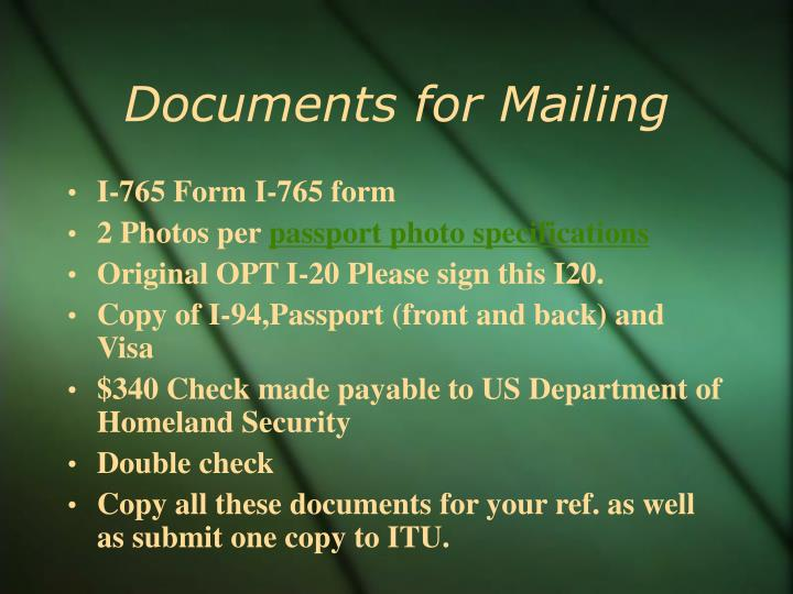 Documents for Mailing