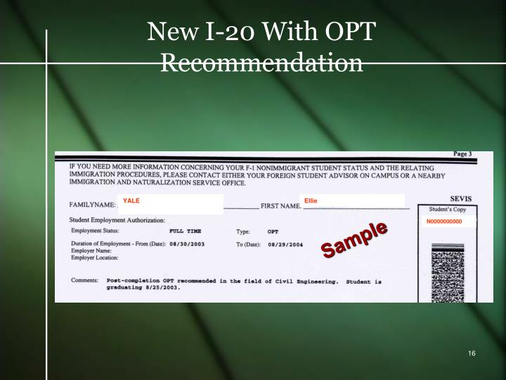 New I-20 With OPT Recommendation