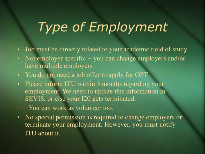 Type of Employment
